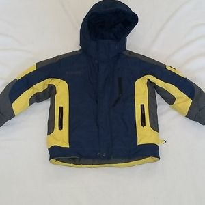 COLUMBIA QUILTED JACKET WITH HOOD SZ 4/5.